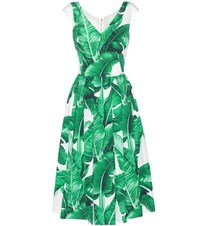 Dolce And Gabbana Printed Cotton Dress Green