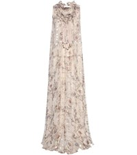 Chloe Fil Coupe Silk Maxi Dress Beige