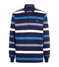 Paul And Shark Stripe Rugby Shirt Male Blue