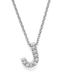 Roberto Coin 18K White Gold Initial Love Letter Pendant Necklace With Diamonds 16 J