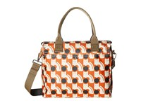 Orla Kiely Poppy Cat Print Zip Messenger Persimmon Messenger Bags Orange