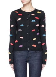 Alice Olivia Lips Embroidery Wool Cardigan Multi Colour