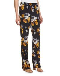 Theory Viewpine Distressed Floral Print Silk Pants Nocturne Multi