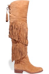 Sam Edelman Jericho Fringed Suede Over The Knee Boots Tan