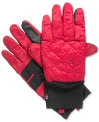 Isotoner Signature Men's Quilted Gloves Red