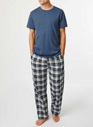 Topman Blue Check Pyjama Set Red