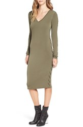 Leith Women's Lace Up Long Sleeve Body Con Dress Olive Sarma
