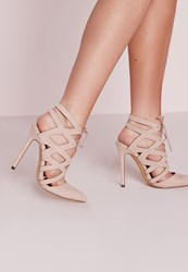 Missguided Geometric Lace Up Court Shoes Nude Beige