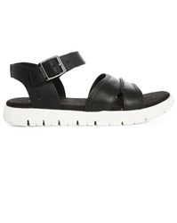 Timberland Black Piermont Leather Sandals With White Sole