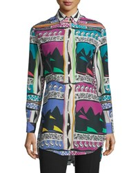 Etro Abstract Print Long Sleeve Blouse White Multi