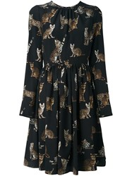 Dolce And Gabbana Bengal Cat Print Dress Black