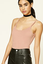 Forever 21 Faux Suede Scoop Neck Bodysuit Blush