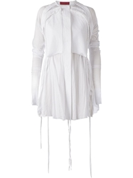 Di Liborio Draped Mesh Panel Blouse White