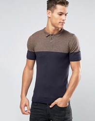 Asos Muscle Fit Knitted Polo In Colour Block Camel Navy Navy Brown