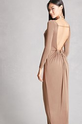 Forever 21 Aro Ruched Back Maxi Dress Cocoa