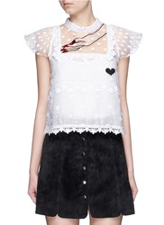 Giamba Hand Embroidery Guipure Floral Lace Top White