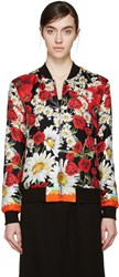 Dolce And Gabbana Red And Black Silk Floral Bomber Jacket