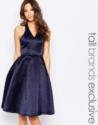 True Decadence Tall Halterneck Prom Dress With Bow Back Navy