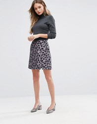 Oasis Leopard Jacquard Mini Skirt Multi Grey