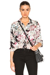 L'agence Margaret Long Sleeve Blouse In Black Floral Pink