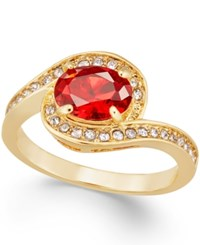 Charter Club Gold Tone Red Stone And Crystal Twist Ring Only At Macy's