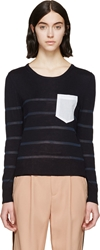 Band Of Outsiders Navy And White Contrast Pocket Sweater