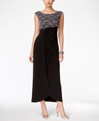 Connected Sequined Lace Draped Gown Black Silver