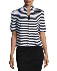Ming Wang Short Sleeve Striped Knit Jacket Wtn