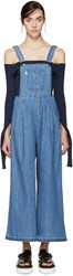 Sjyp Blue Wide Leg Denim Overalls