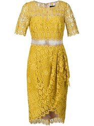 Marchesa Notte Lace Cocktail Dress Yellow And Orange