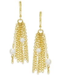 Charter Club Gold Tone Imitation Pearl And Chain Fringe Drop Earrings Only At Macy's