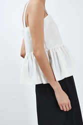 Ruffled Peplum Cami Top By Boutique White