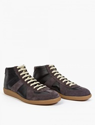 Maison Martin Margiela 22 Black Leather And Suede Hi Top Replica Sneakers