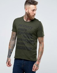 Sisley T Shirt With Raw Hem And Graphic Print Khaki 34B Green