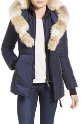 Mackage Women's Hooded Down Parka With Inset Bib And Genuine Coyote Fur Trim Ink