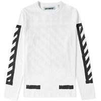 Off White Long Sleeve Brushed Diagonals Tee White