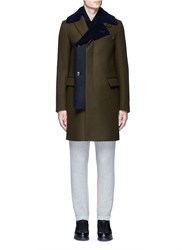 Sacai Shearling Underlay Wool Military Coat Green