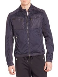 Moncler Mesh Biker Jacket Dark Blue
