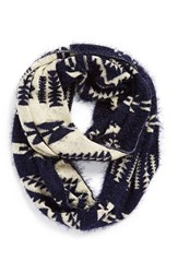 Junior Women's Bp. Fuzzy Geometric Infinity Scarf Blue Navy Ivory