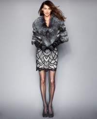 The Fur Vault Fox Fur Cropped Cape Silver