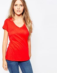 Sundry Loose V Neck T Shirt Fire Red