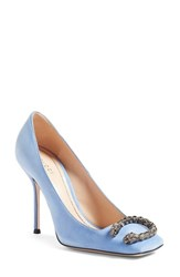 Gucci Women's Dionysus Embellished Square Toe Pump Blue Suede