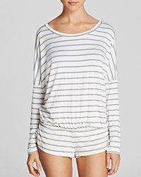 Eberjey Lounge Stripes Slouchy Tee Blue Shadow