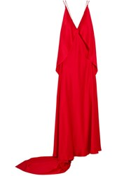 Michael Lo Sordo Spider Open Back Silk Satin Gown Red