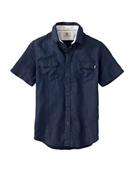Timberland Short Sleeve Linen Shirt Blue