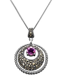Genevieve And Grace Sterling Silver Necklace Amethyst 1 1 10 Ct. T.W. And Marcasite Circle Pendant