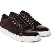 Lanvin Cap Toe Suede And Patent Leather Sneakers Burgundy