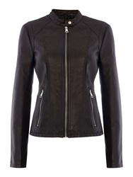 Andrew Marc New York Pu Jacket With Front Zip Detail Black