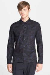 White Mountaineering Trim Fit Camo Print Shirt Blue