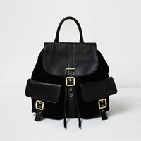 River Island Womens Black Leather Pocket Backpack